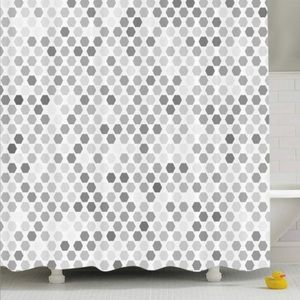 Extra long Ambesonne Grey Hexagon Shower Curtain